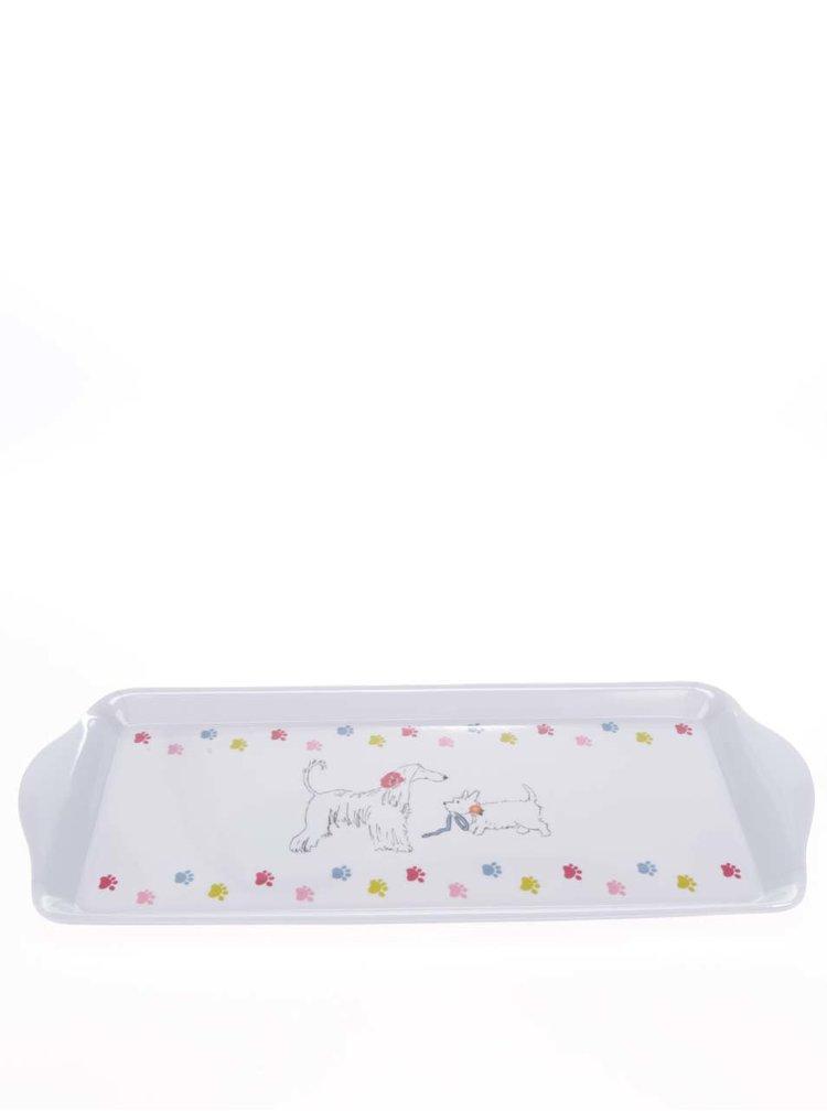 Tavă mică albă pentru servire Cooksmart  cu print