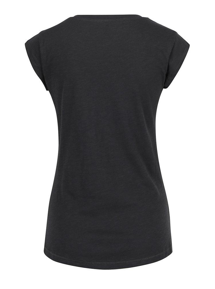 Černé tričko s potiskem ONLY Bone