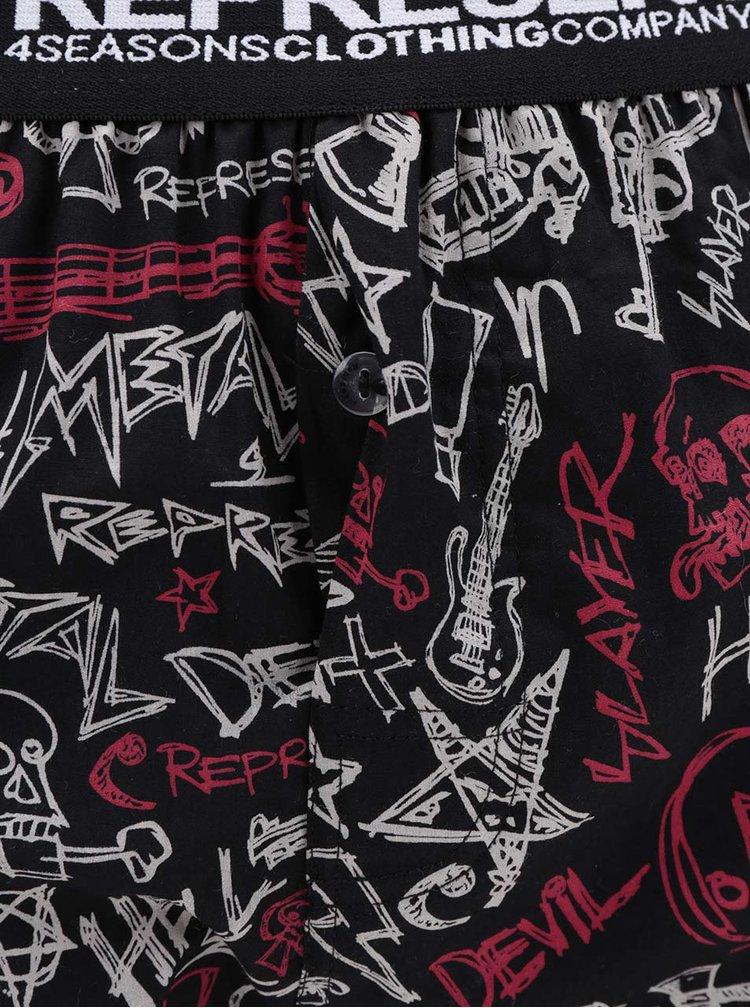 Červeno-černé trenýrky s potiskem Represent Exclusive Mike Metal