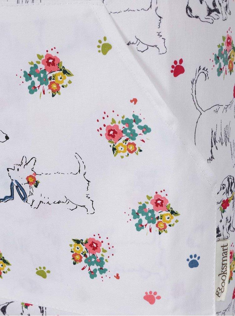 Bílá zástěra s motivem psů Cooksmart