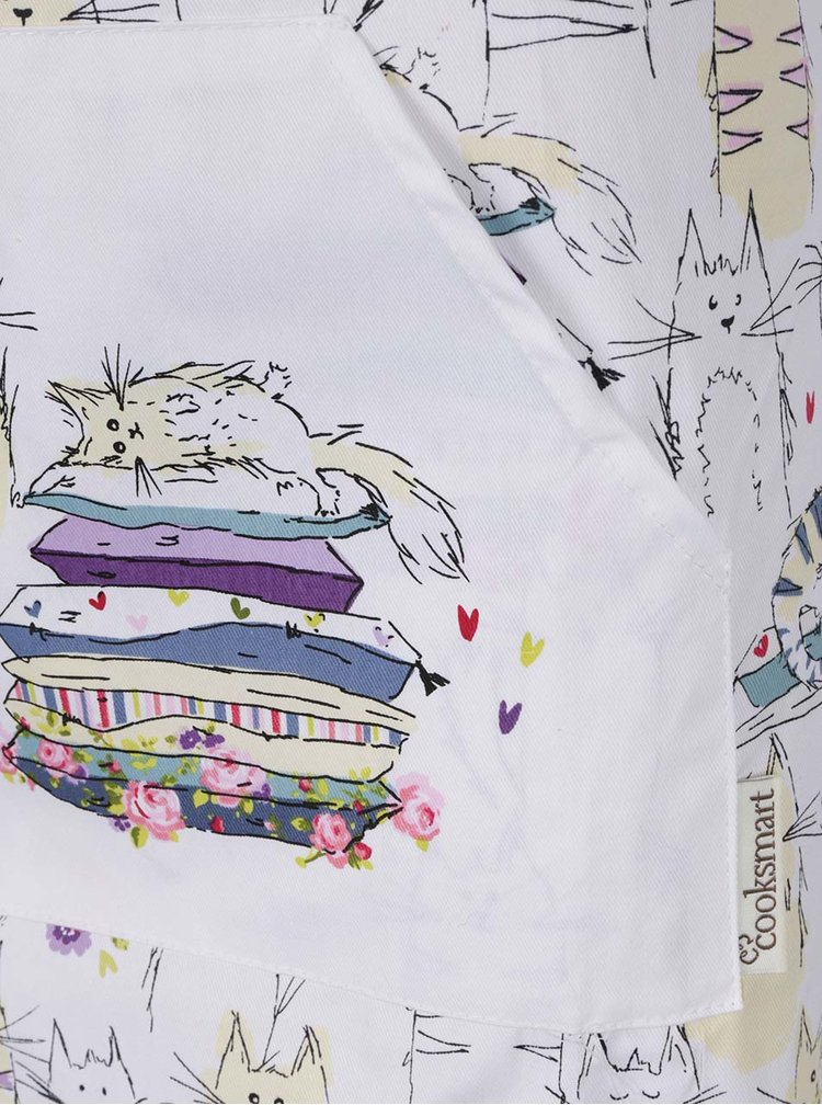 Bílá zástěra s motivem koček Cooksmart