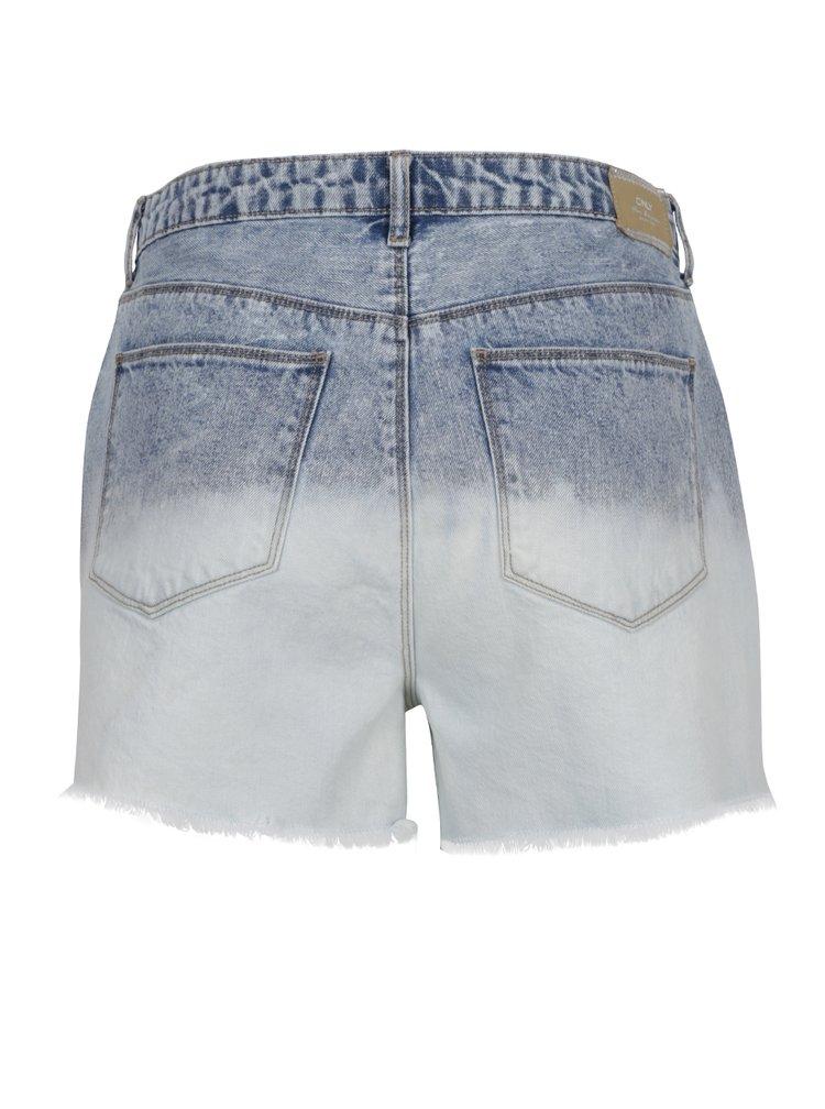 Modro-krémové džínové kraťasy s vysokým pasem ONLY Molly