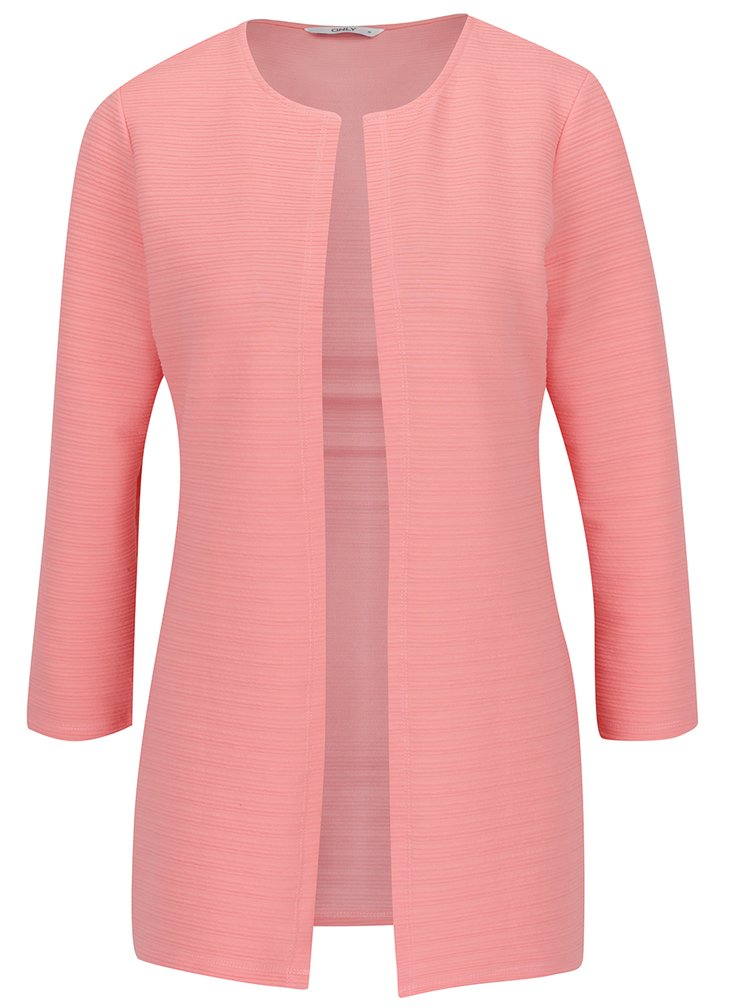 Cardigan roz piersica ONLY Leco cu model cu striatii