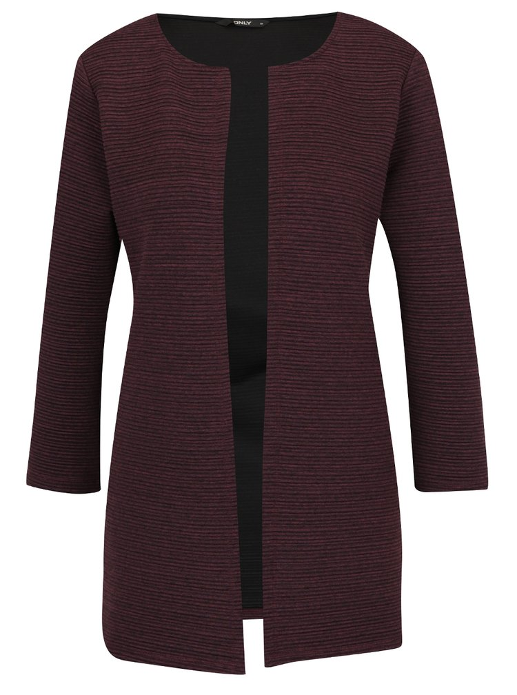 Cardigan visiniu ONLY Leco cu model cu striatii