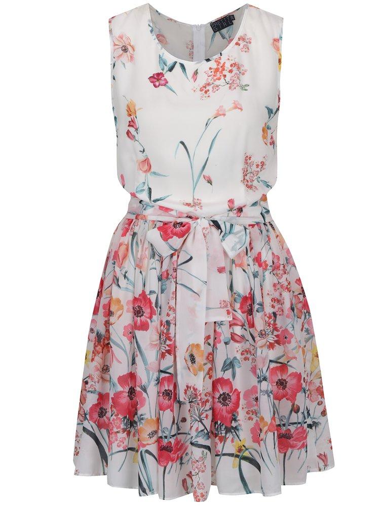 Krémové květované šaty bez rukávů Pretty Girl