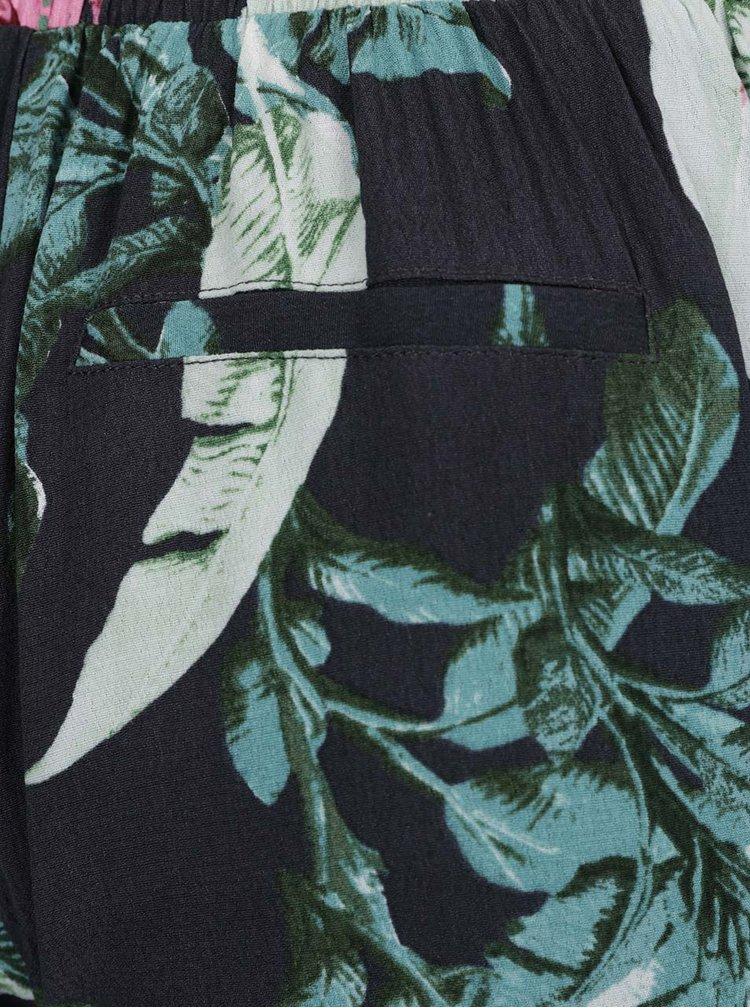 Zeleno-modré květované kraťasy s kapsami ONLY Elena