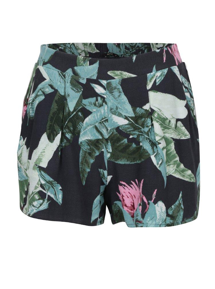 Pantaloni scurți albastru închis ONLY Elena cu imprimeu floral