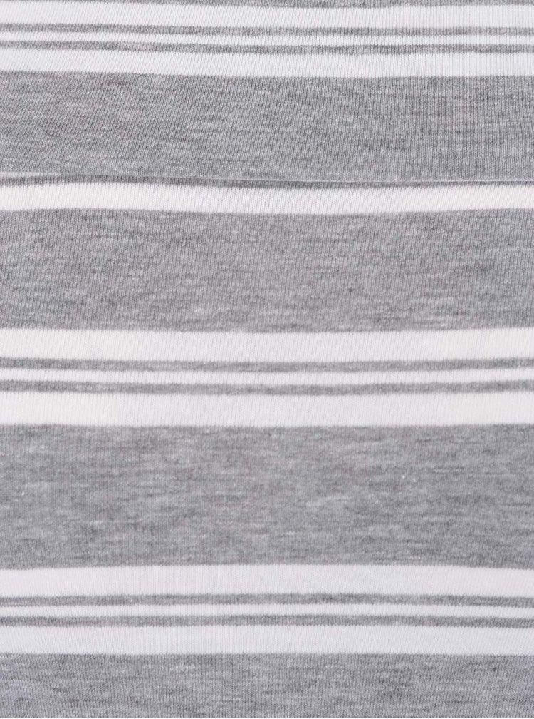 Šedé dámské pruhované tričko s odhalenými rameny Broadway Fion