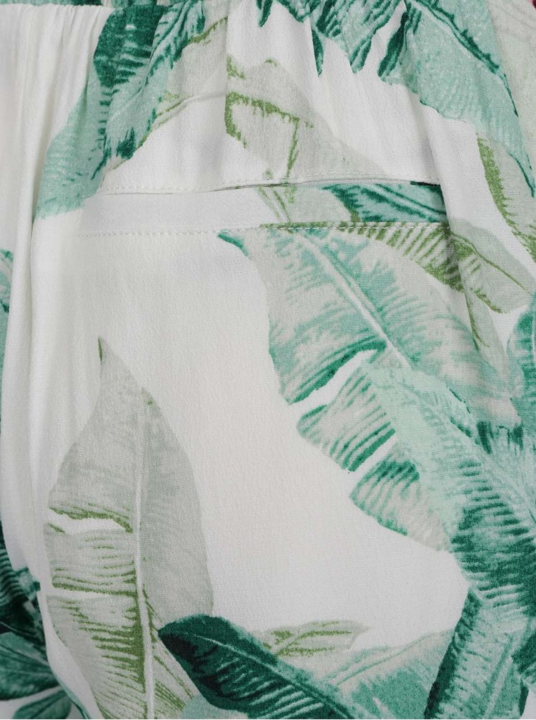 Zeleno-krémové květované kraťasy s kapsami ONLY Elena