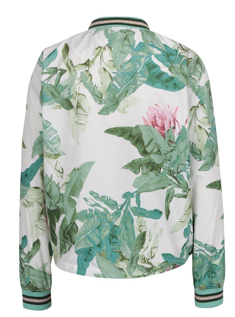 Jachetă bomber crem&verde ONLY Aura cu imprimeu