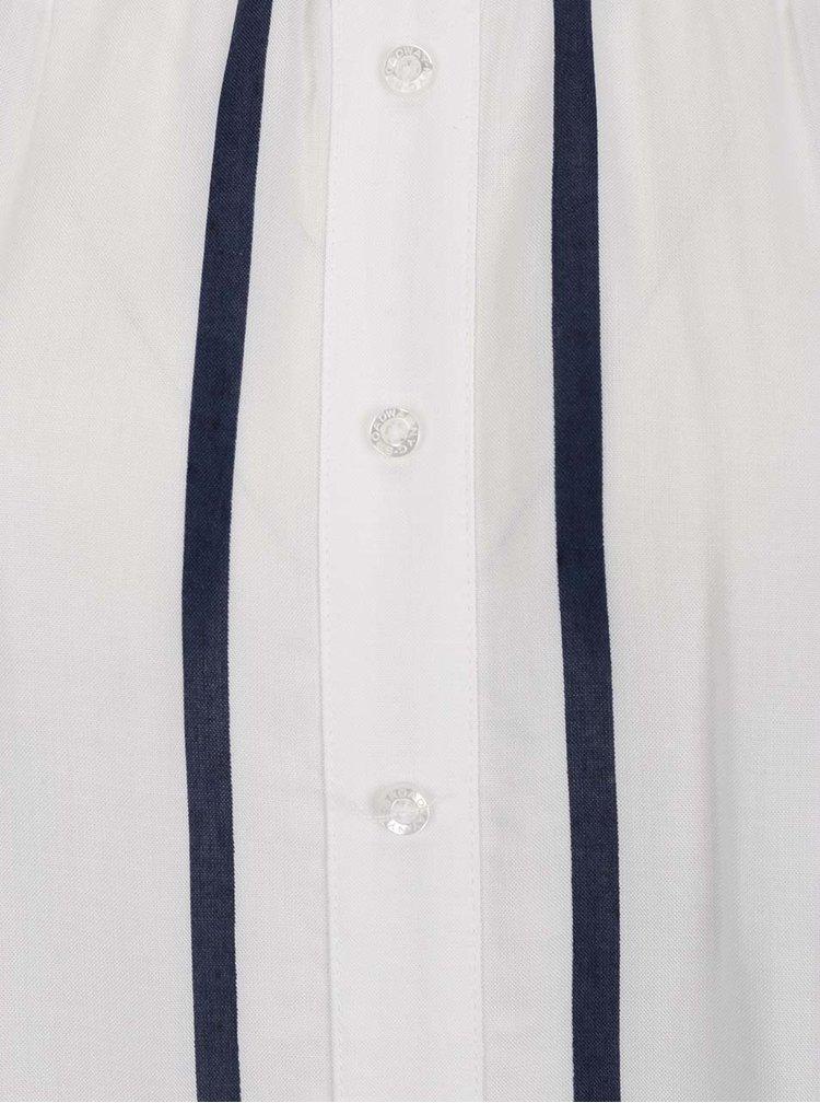 Bluza alb&albastru Broadway Floris cu decolteu pe umeri
