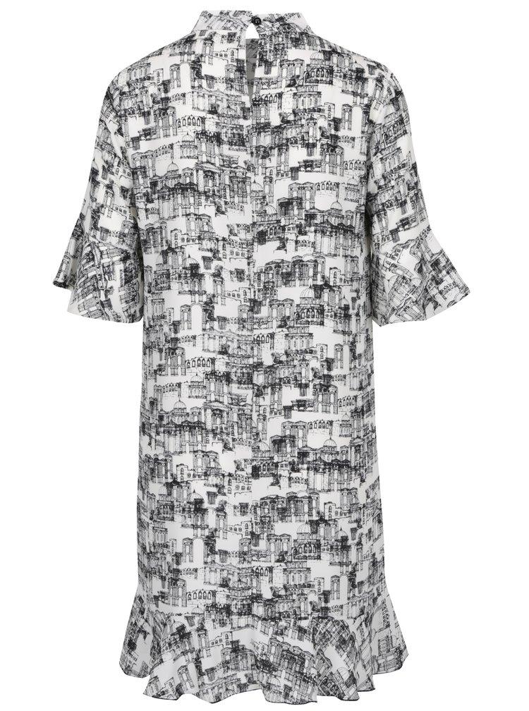 Černo-bílé šaty s potiskem města Pretty Girl
