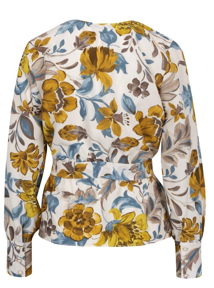 Žluto-béžová halenka s květovaným potiskem Pretty Girl