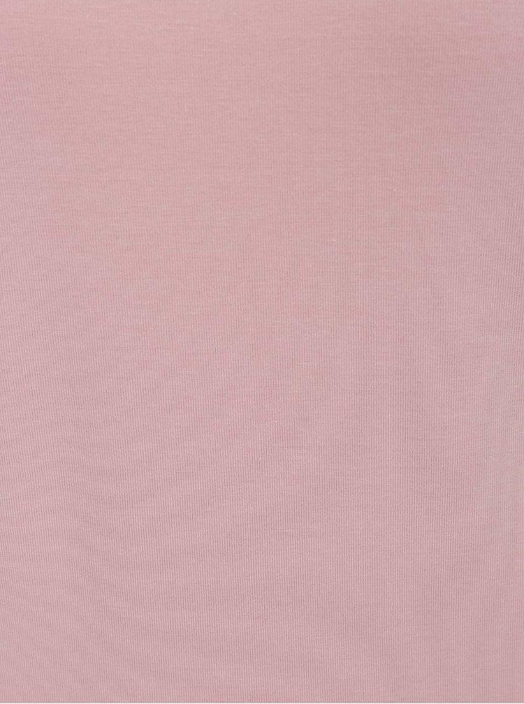 Bluză roz pal ONLY Durum cu panglici încrucișate pe gât