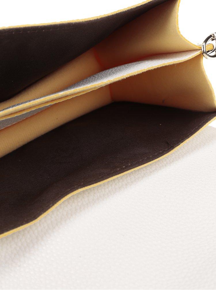 Geantă alb fildeș crossbody Fez by Fez Tracollina cu garnituri galbene
