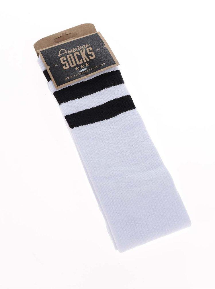 Bílé unisex ponožky s černými pruhy American Socks