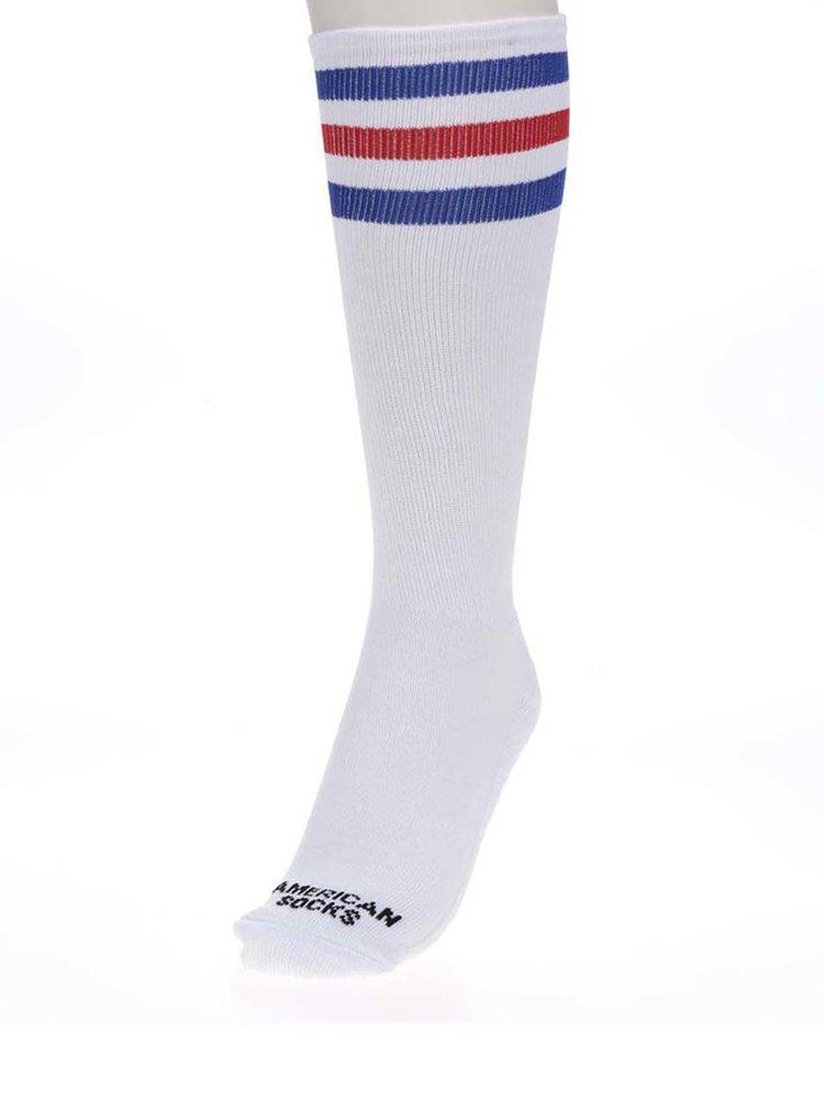 Bílé unisex ponožky s pruhy American Socks Pride