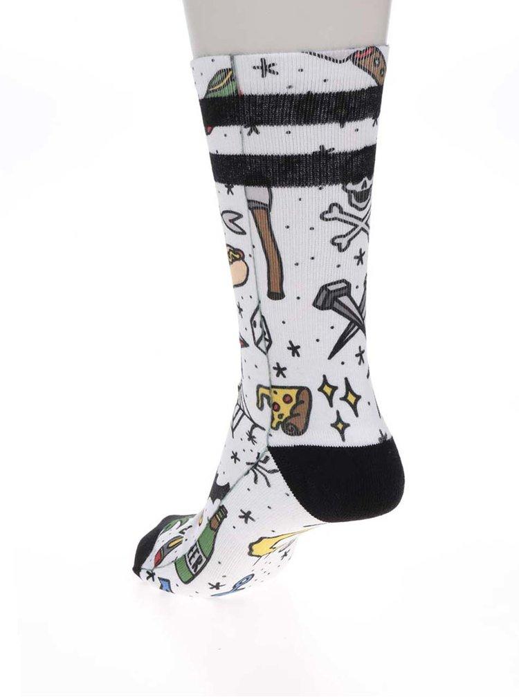 Bílé unisex vzorované ponožky American Socks