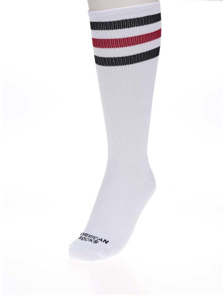 Șosete unisex albe cu dungi - American Socks