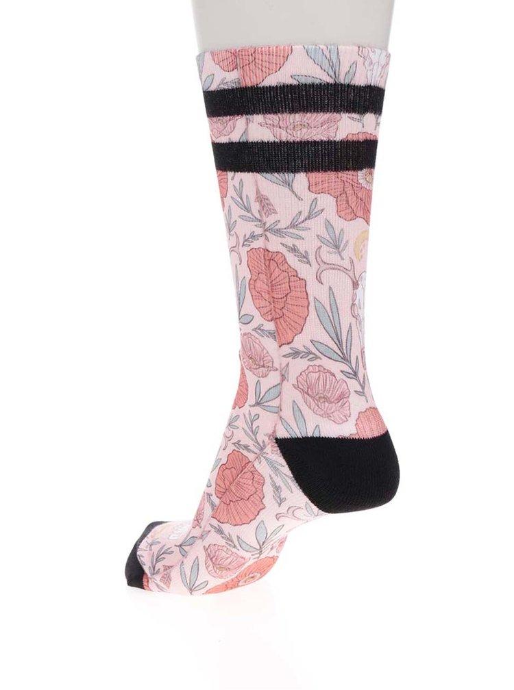 Růžové dámské ponožky s květovaným vzorem American socks