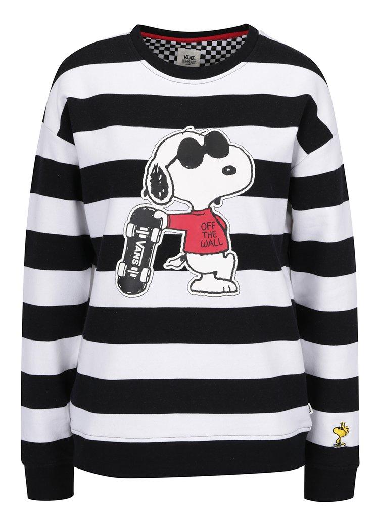 Černo-bílá dámská pruhovaná mikina s motivem Snoopyho VANS Joe Cool