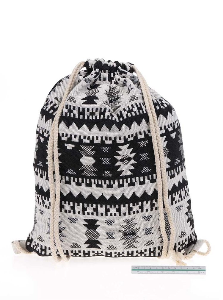 Krémovo-černý vzorovaný vak  Haily's Bag