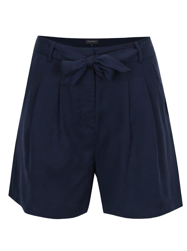 Pantaloni scurti albastru inchis Broadway Galene cu panglica in talie