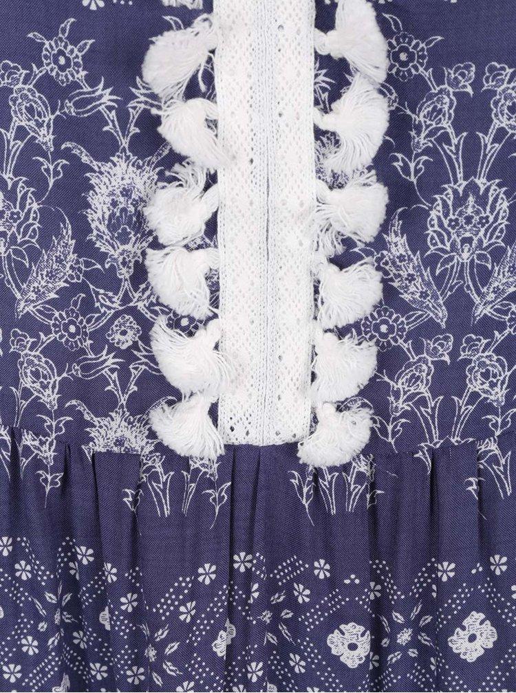 Bílo-modré vzorované maxišaty s ozdobnými třásněmi Broadway Gesine