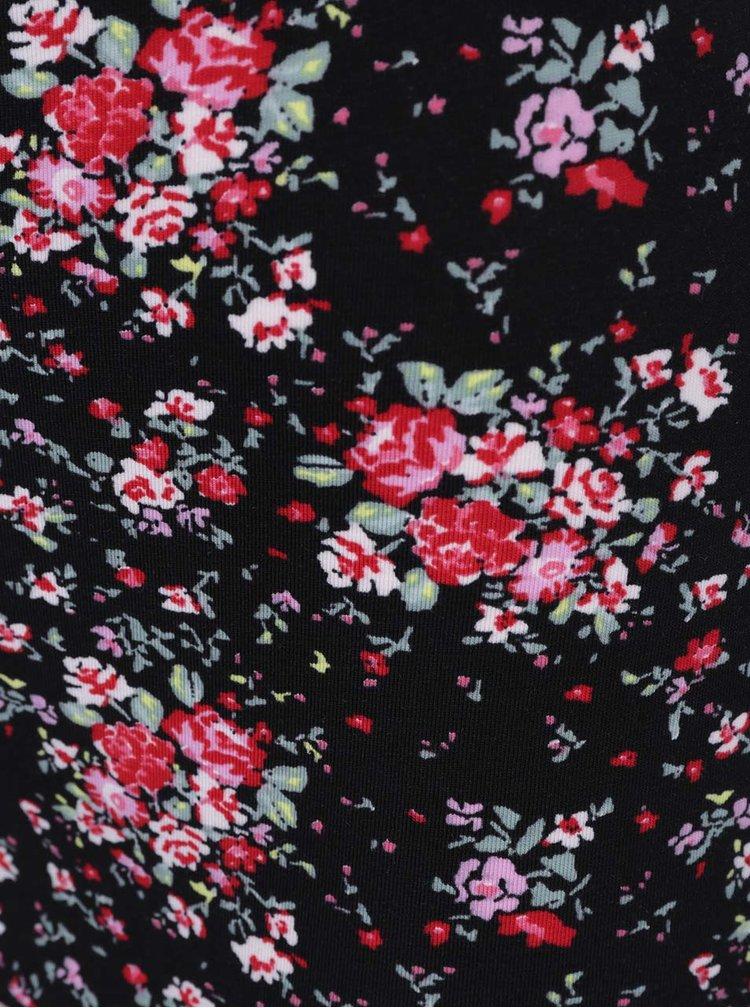 Černá květovaná minisukně s řasením na boku TALLY WEiJL