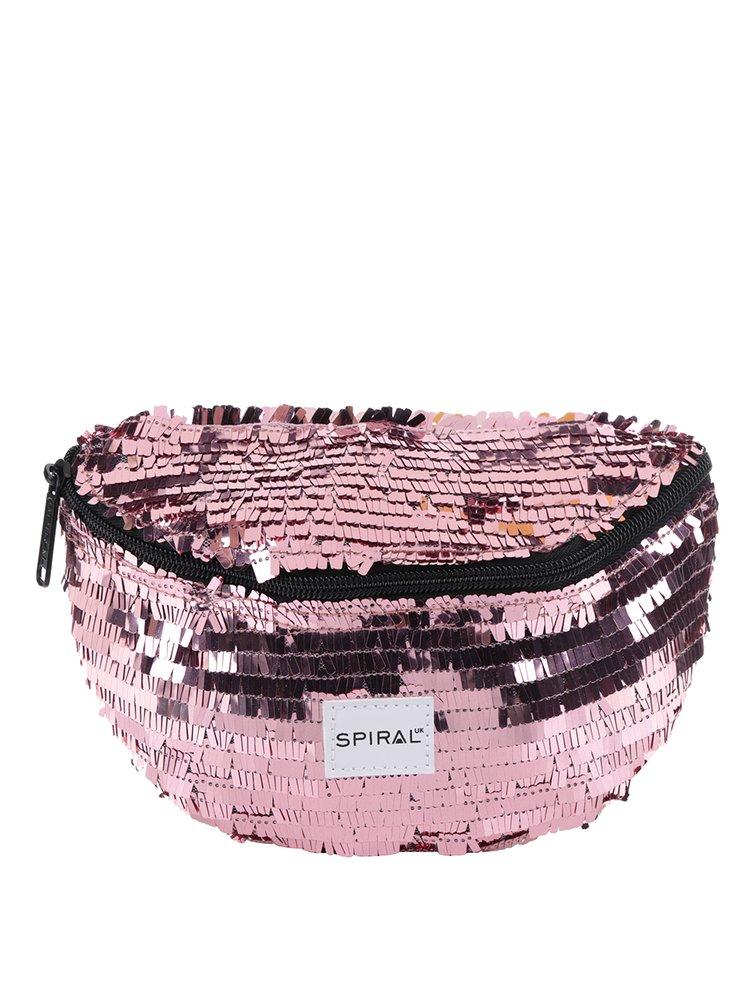 Růžová dámská ledvinka s flitry Spiral Harvard Mum Bag