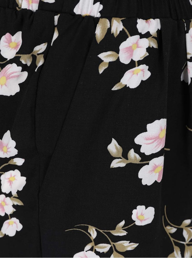 Pantaloni scurti negri Haily's Rachel cu imprimeu floral