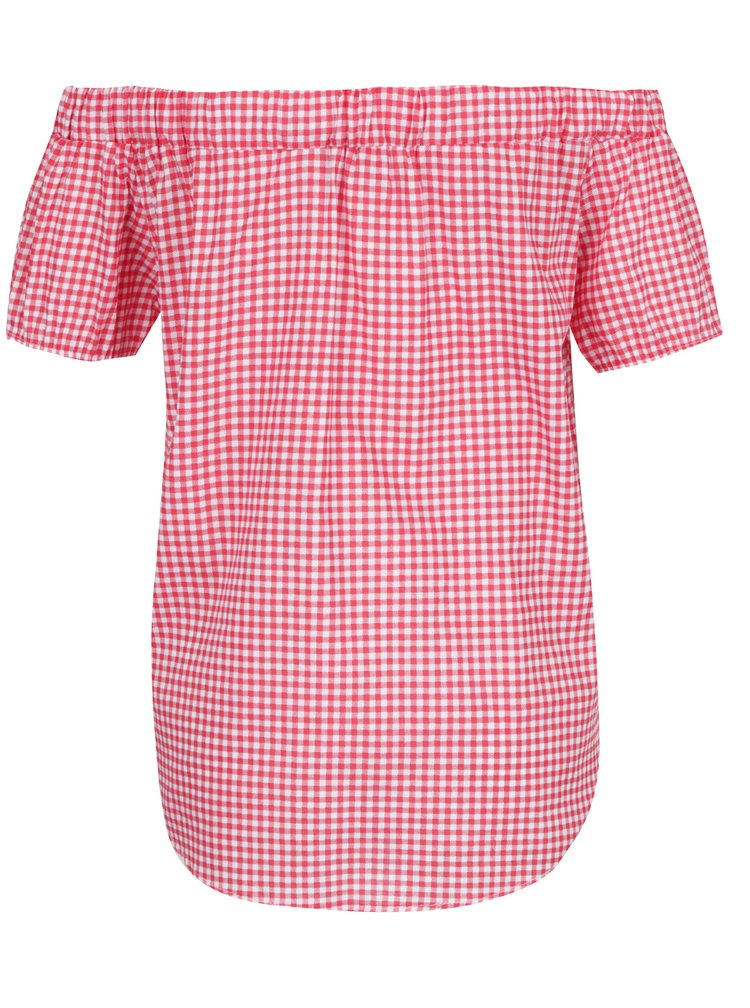 Top crem&rosu Haily's Checky cu model in carouri