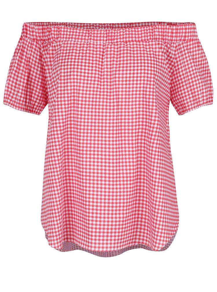 Krémovo-červený top s odhalenými rameny  Haily's Checky