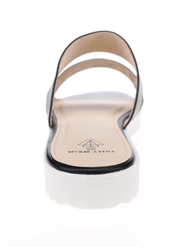 Černé pantofle s detaily ve stříbrné barvě TALLY WEiJL