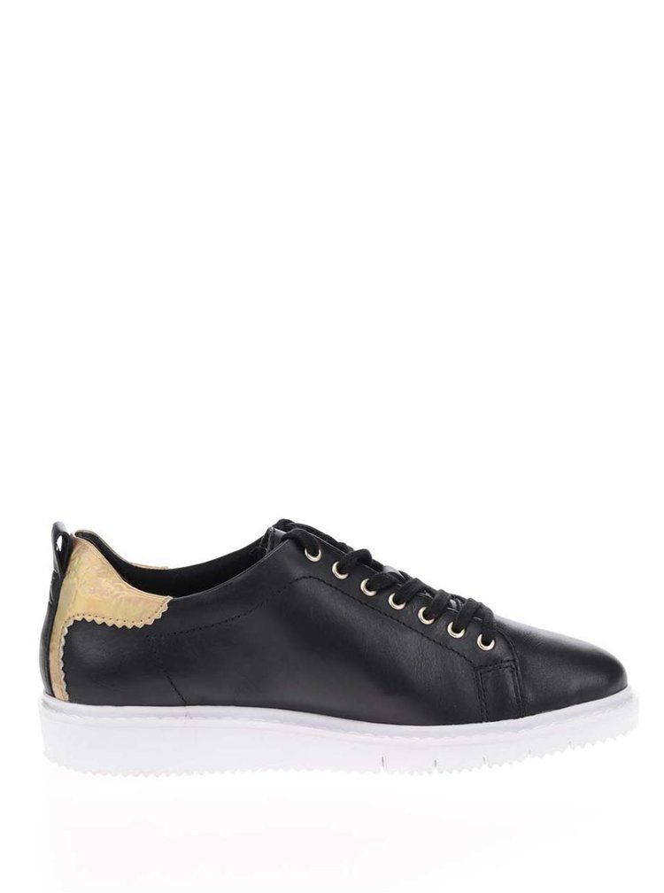 Pantofi sport negri Tamaris cu broderie florala