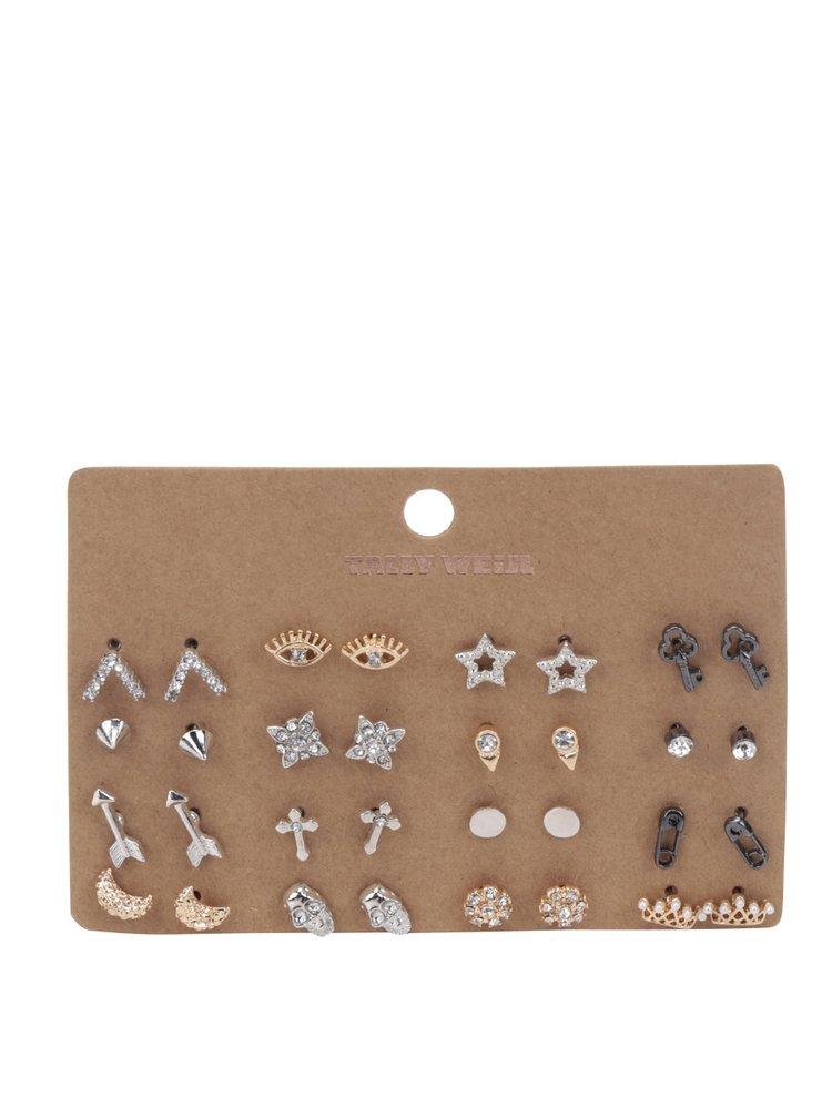 Set 16 perechi de cercei argintii&aurii TALLY WEiJL