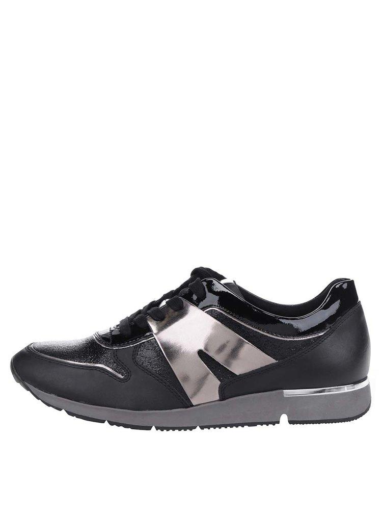 Pantofi sport negri Tamaris cu detalii argintii