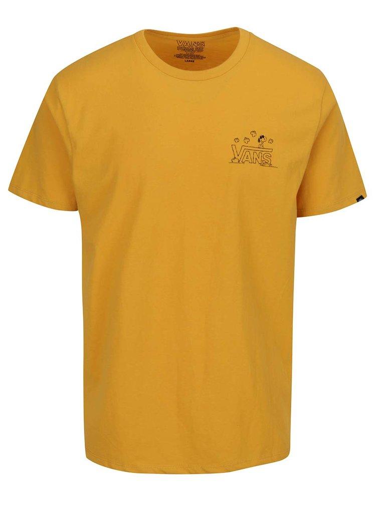 Žluté pánské triko s potiskem na zádech VANS Classic