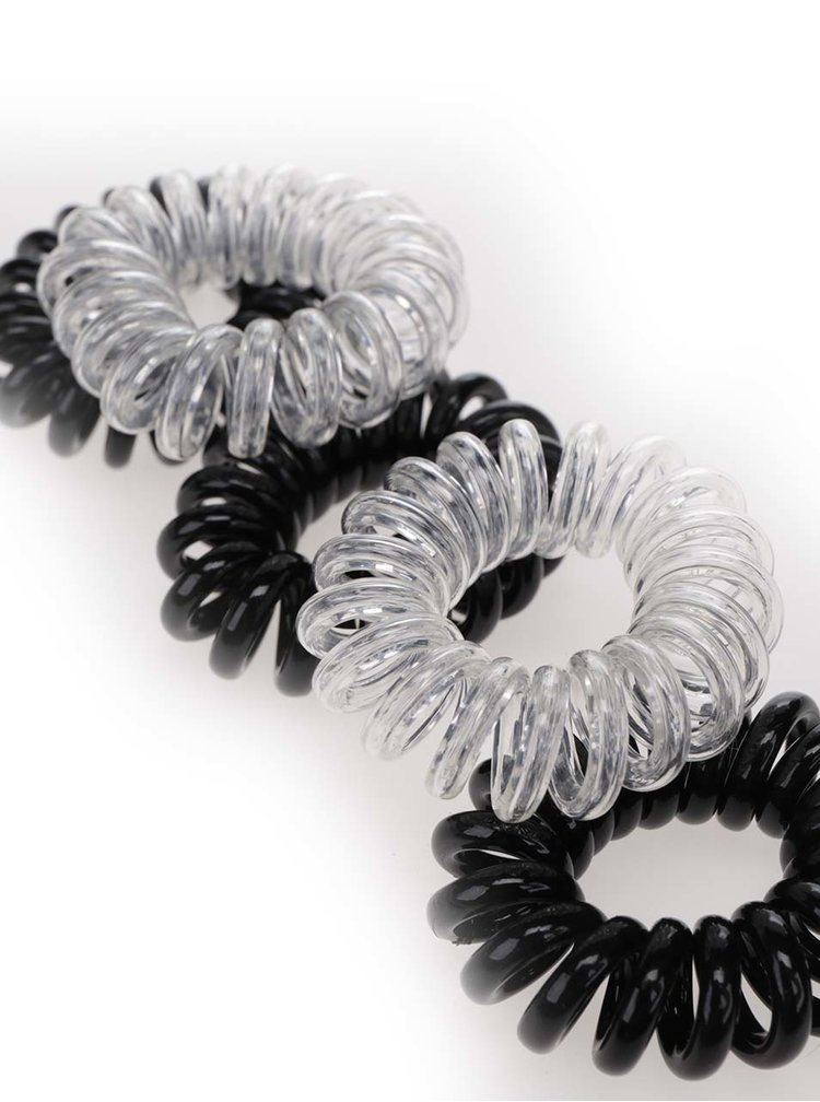 Sada pěti černých a transparentních gumiček TALLY WEiJL