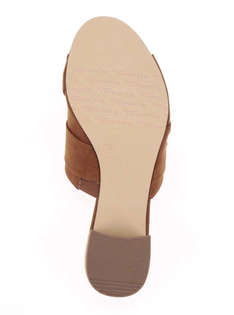 Hnědé pantofle v semišové úpravě na podpatku Tamaris