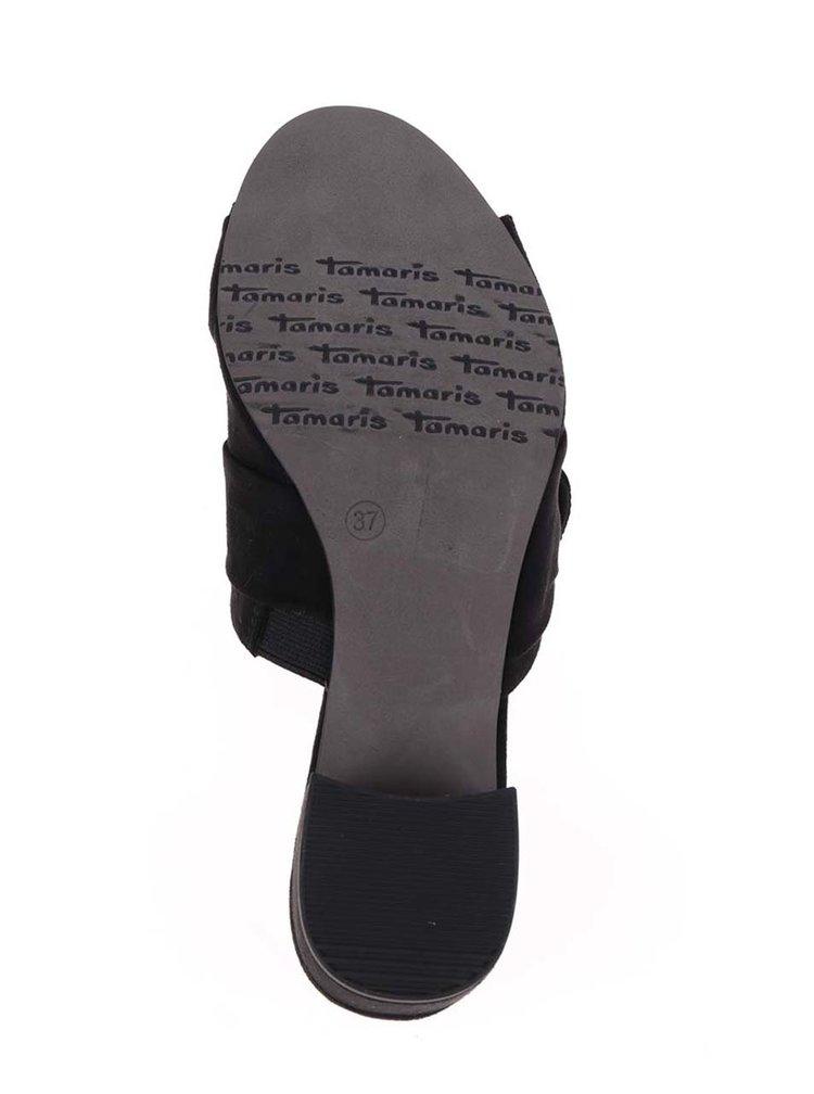 Saboti negri Tamaris cu aspect de piele intoarsa