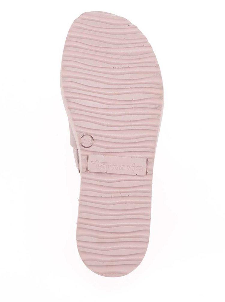 Papuci roz prăfuit Tamaris din piele