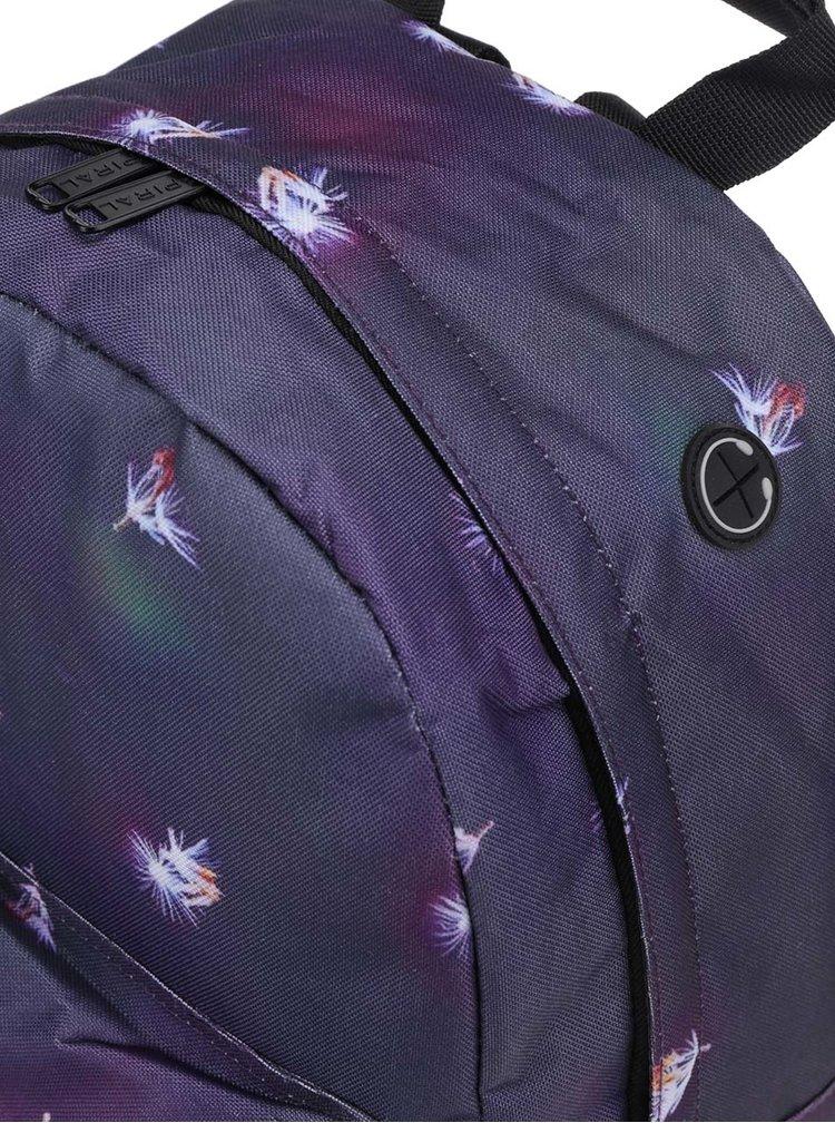 Fialový dámský batoh s potiskem chmýří Spiral 18 l