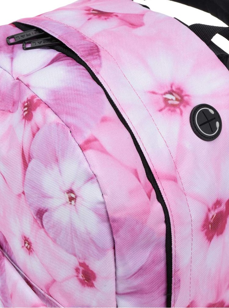 Rucsac roz de damă Spiral 18 l cu model floral