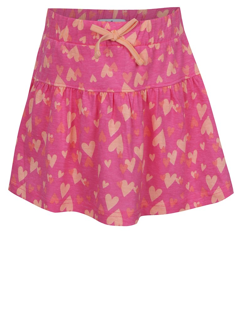 Růžová holčičí sukně s potiskem srdíček 5.10.15.