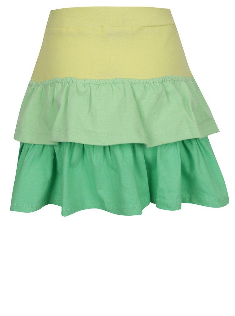 Žluto-zelená holčičí sukně s volány 5.10.15.
