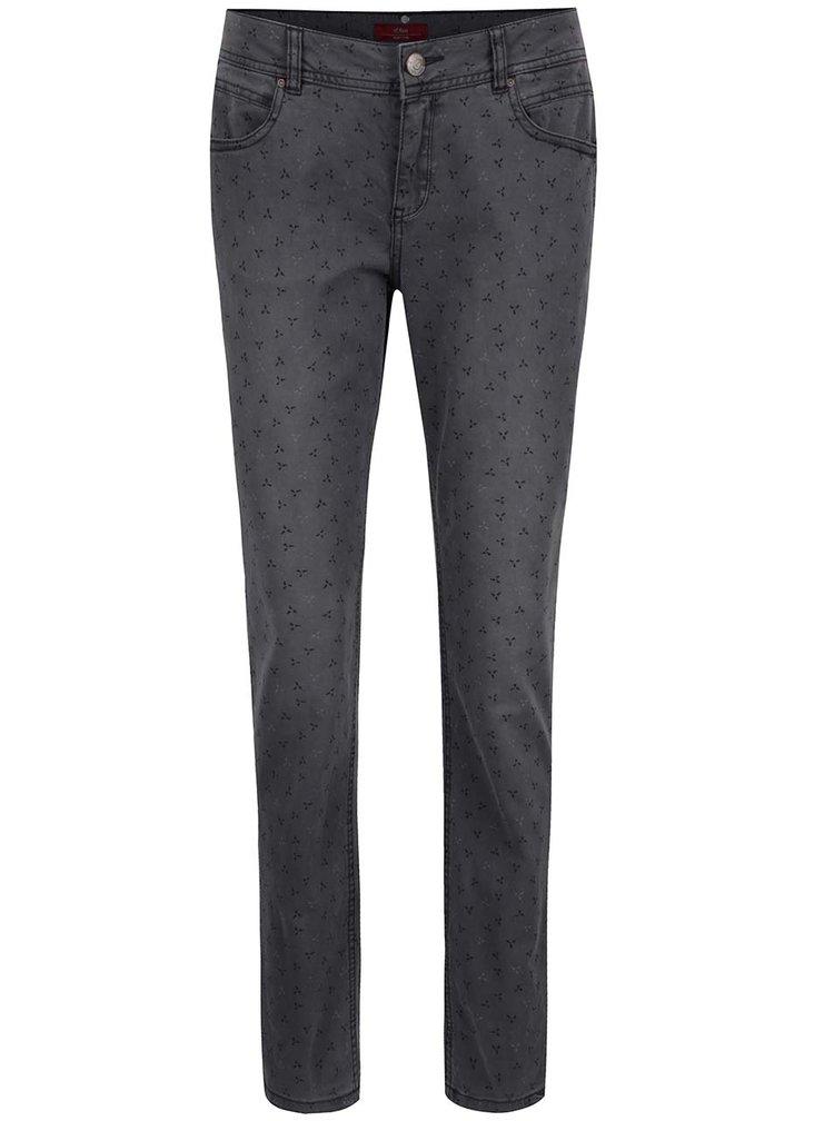 Šedé vzorované dámské chino kalhoty s páskem s.Oliver