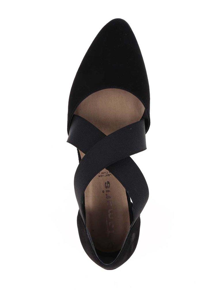 Černé semišové baleríny s pásky Tamaris
