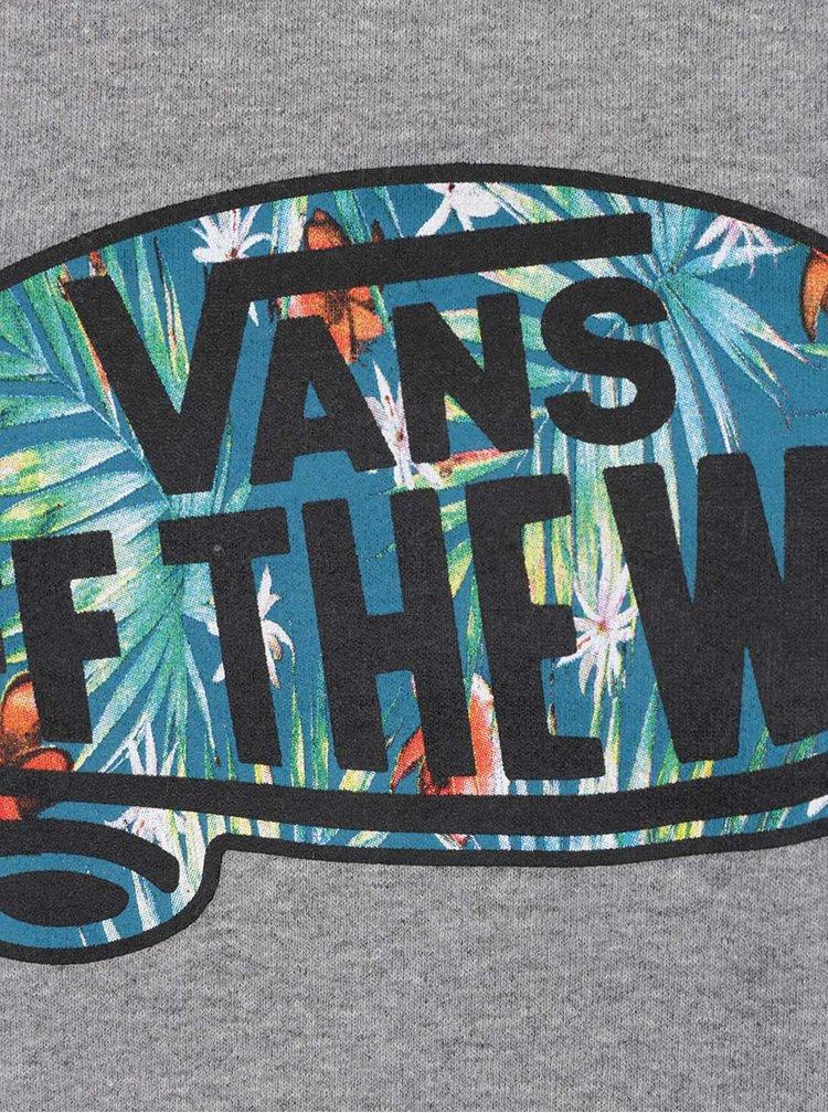 Bluza gri melanj cu logo pentru barbati - VANS Off the wall