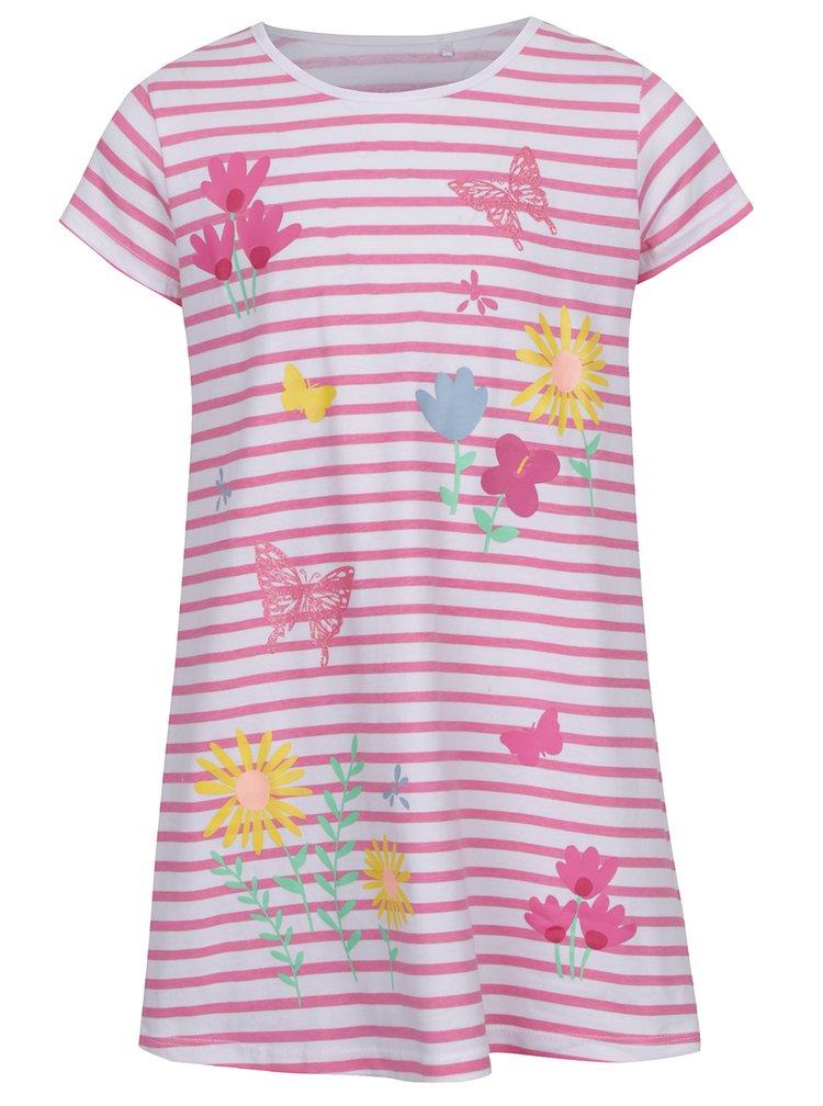 Bílo-růžové holčičí pruhované šaty s potiskem 5.10.15.